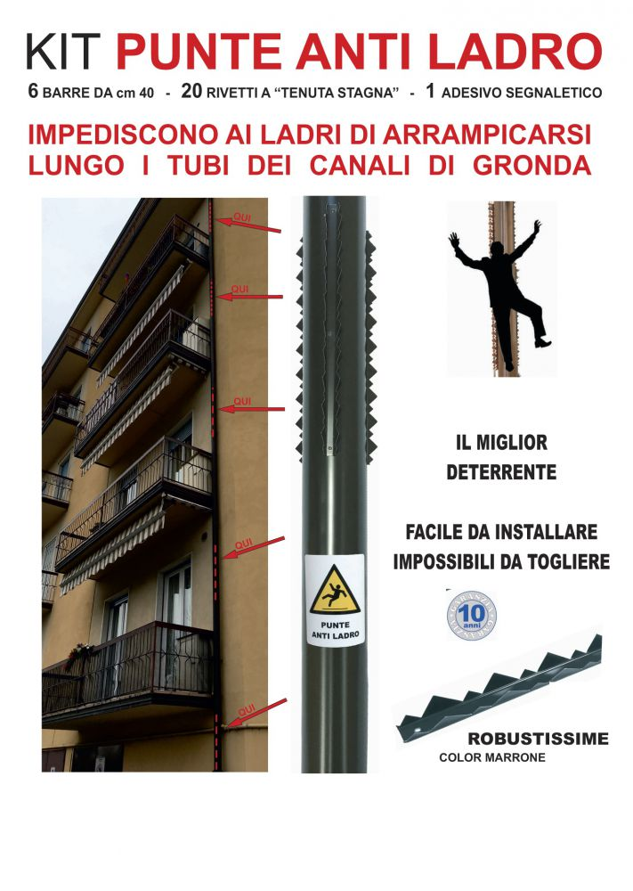 Kit Punte Anti Ladro Per Grondaie Colore Marrone Ferramenta Online