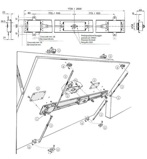 Serratura per basculanti mottura serie 45 ferramenta - Serratura porta basculante garage ...